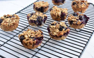 Healthy Blueberry Walnut Baked Oatmeal Cups