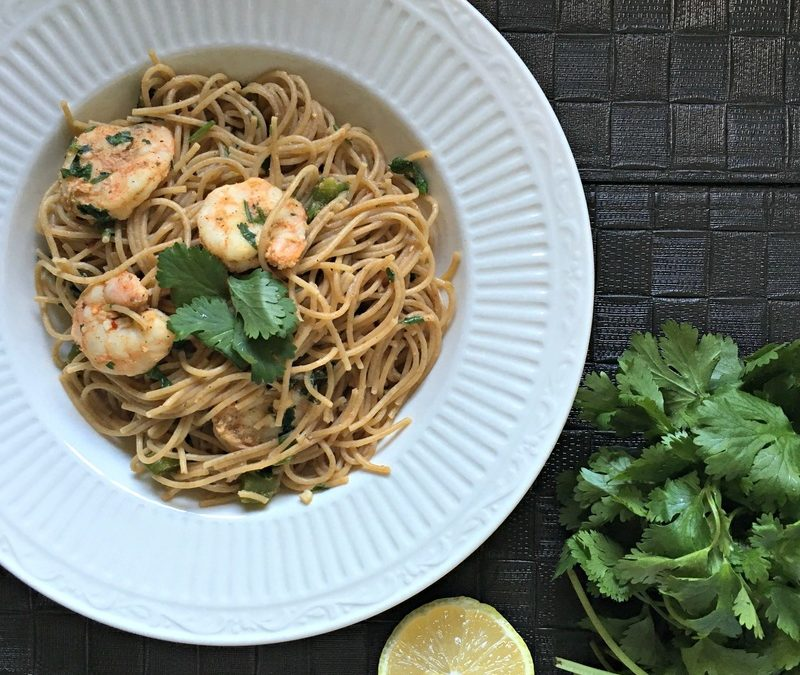 Ancient Grains Shrimp Pasta with Lemon and Cilantro