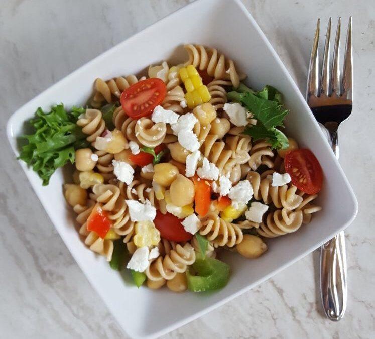 Best Easy Mediterranean Pasta Salad with Chickpeas and Yogurt Dressing