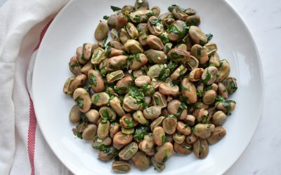 Sauteed Garlic and Cilantro Broad Beans