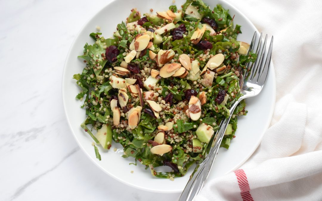 Kale Quinoa Salad with Toasted Almonds and Raspberry Vinaigrette