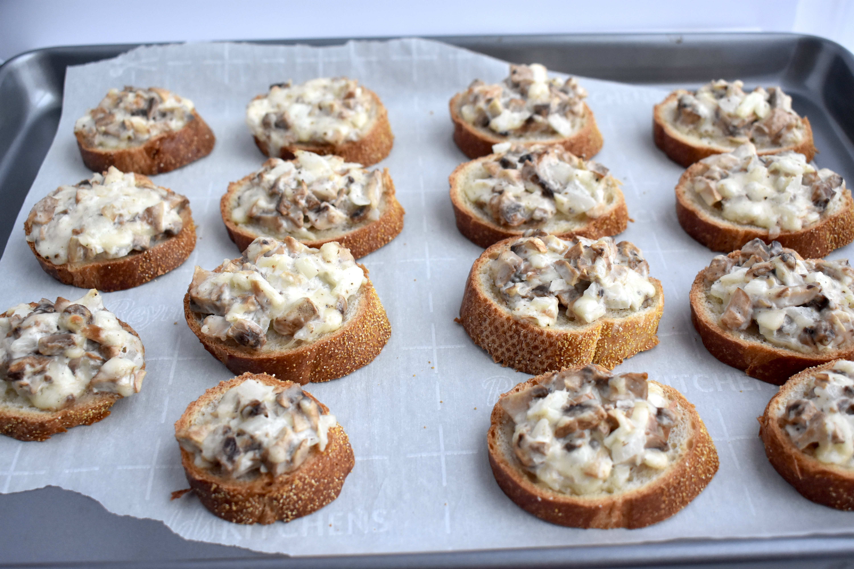 Mushroom Mozzarella Crostini
