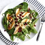 spinach and apple salad with pomegranate dressing