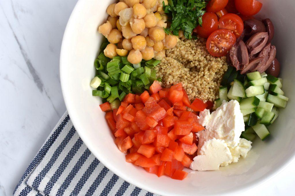 mediterranean quinoa bowl closeup