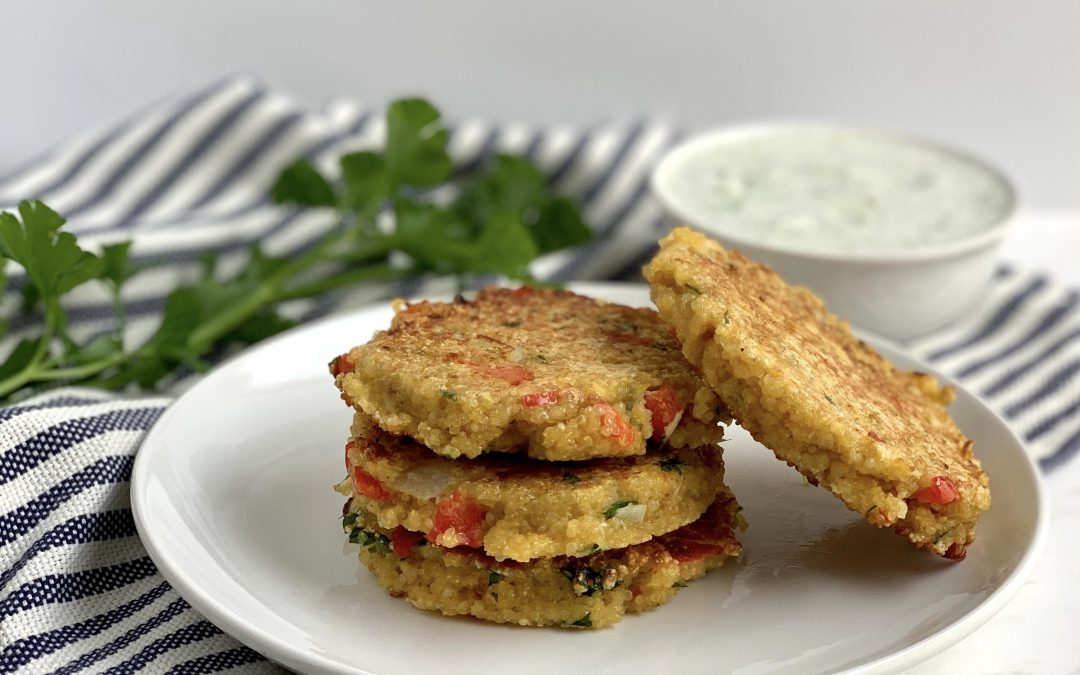 Mediterranean Quinoa Patties with Cucumber Yogurt (Tzatziki Sauce)