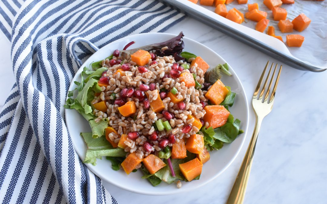 Fall Roasted Butternut Squash and Farro Salad with Pomegranate